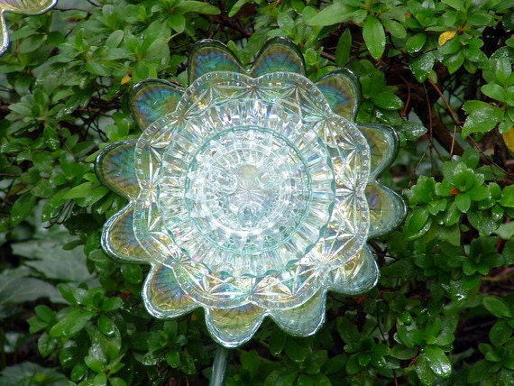 Garden art.  Glass flower.  Glass flower suncatcher.  Candle holder.  Hospitality gift.  Green flower is made with repurposed glass.