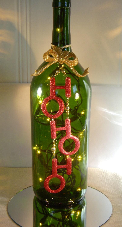 Items similar to christmas decoration wine bottle lamp for Christmas bottle decoration ideas