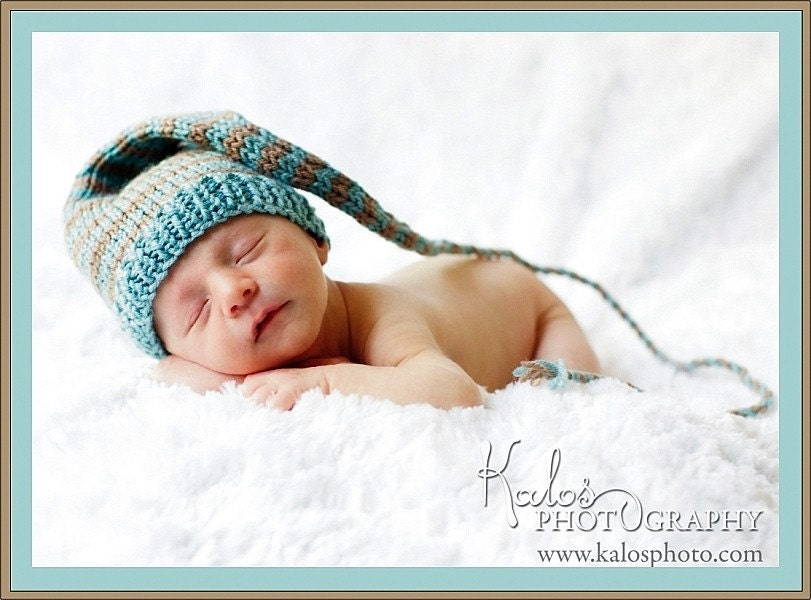 FEATURED WWW PARENTS COM - Custom Knit - Funky Newborn Baby Munchkins Hat - Stocking Cap - aqua blue and warm brown taupe stripes with cord and tassle