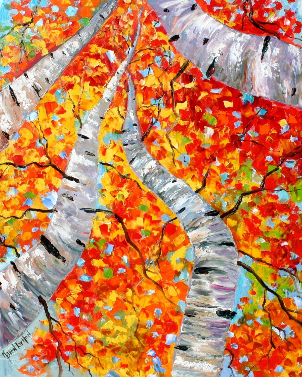 Karen Tarlton Original Oil Painting Fall Birch Trees