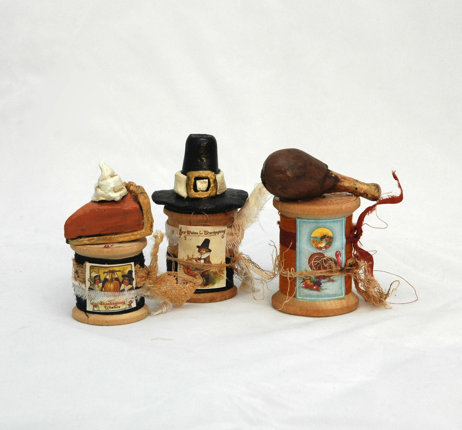 Miniature Pilgrim Hat Paperclay Sculpture on Altered Vintage Wooden Spool Thanksgiving Fall
