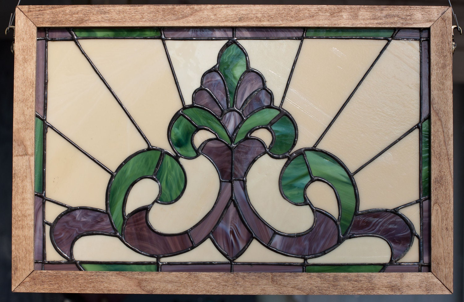 "SALE  Real Stained Glass, ""Victorian green/purple in wood frame"" - PBTP"