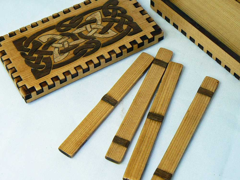 Druid Sticks Celtic Inlay  Boxed Set
