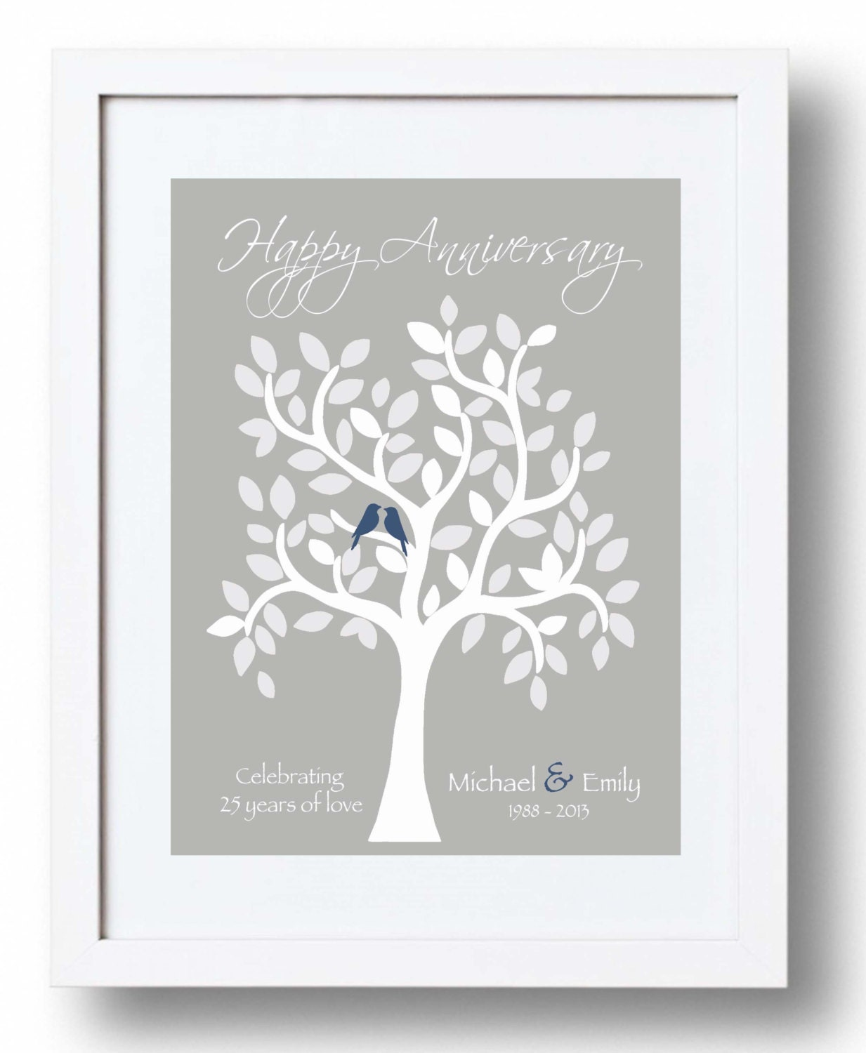 25th Anniversary Gift for Parents - 25th Silver Anniversary print ...