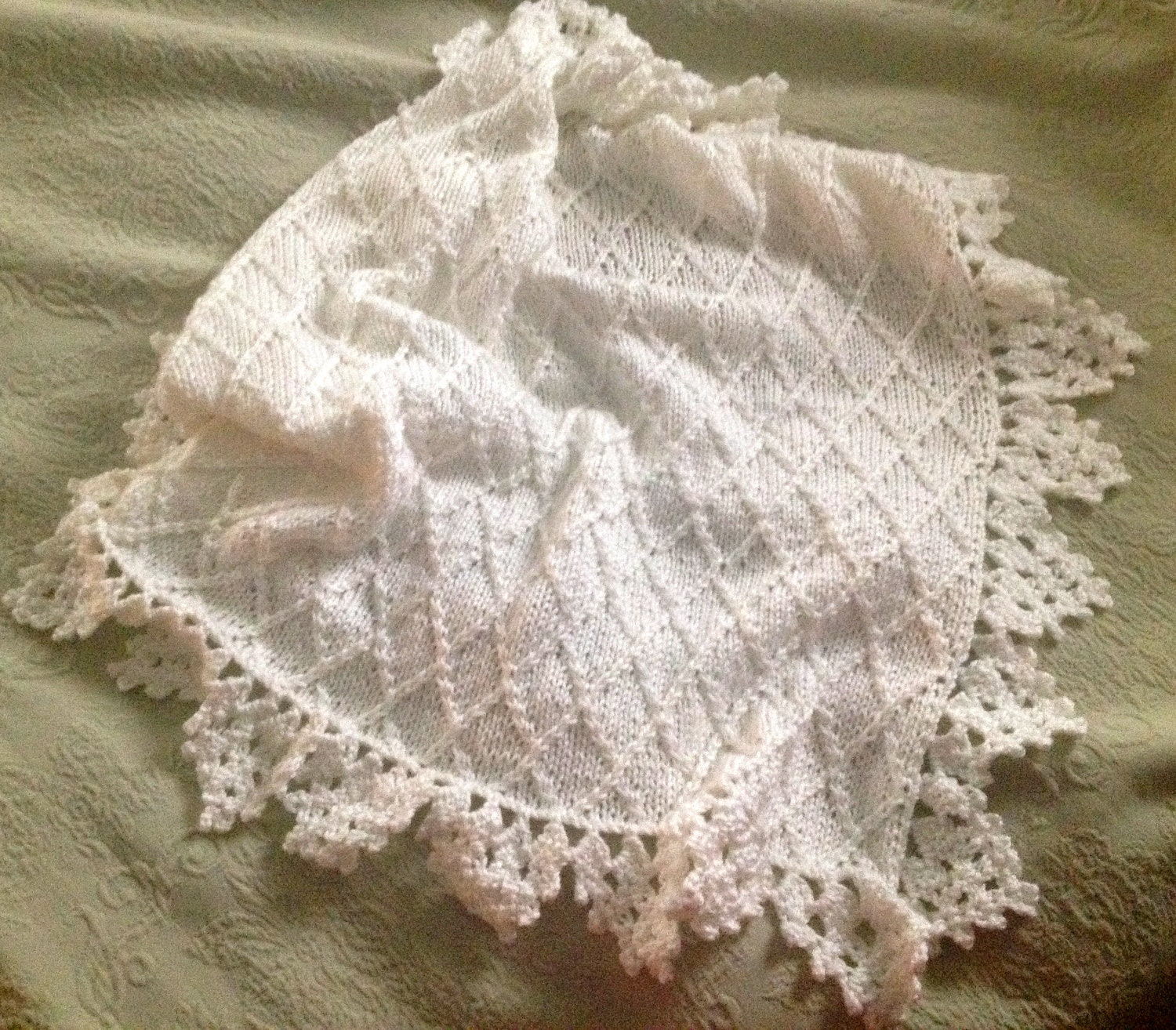 Hand knit baby blanket in diamond pattern with by DarellaBaby