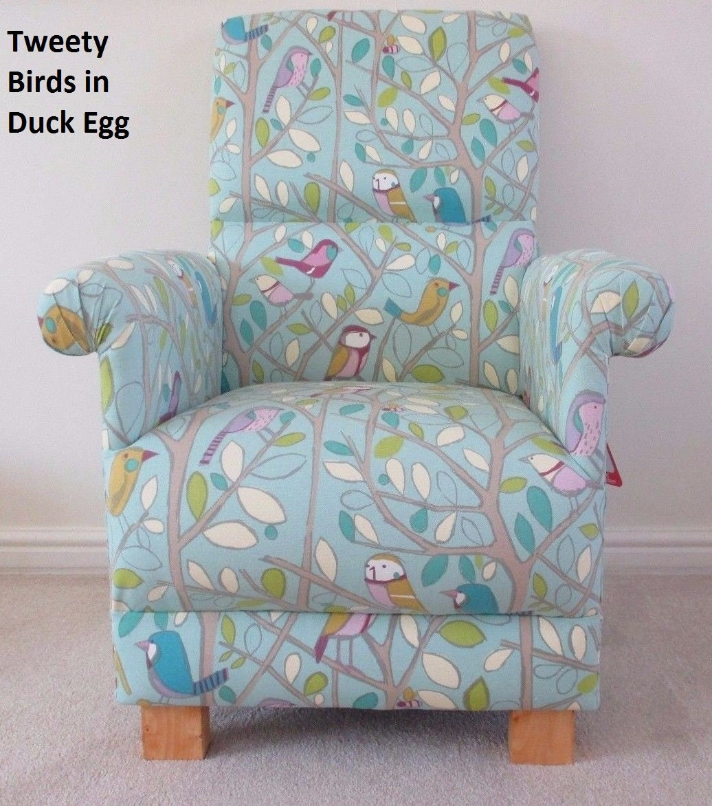 Tweety Birds Fabric Adult Chair Armchair Duck Egg Nursery Nursing Occasional Bedroom Bespoke Lilac Blue Green