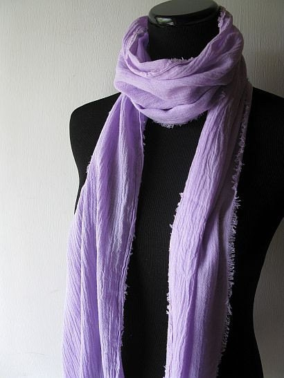 Gauze Scarf - Purple Violet Lavendar Spring Summer Lightweight Fabric Scarf - Free Shipping