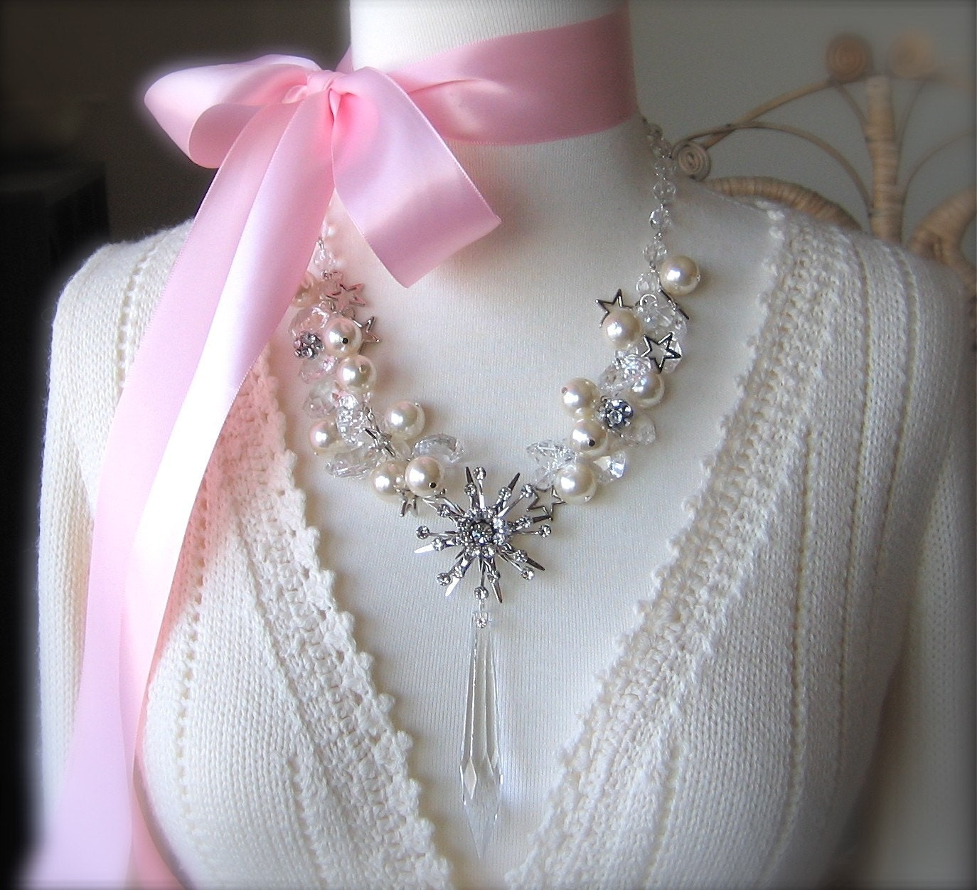 Jack Frost Necklace - A Cool Compilation Of Frosty Vintage Rhinestones And Crystal Ice - Chilly Winter White Pearls And Sparkling Snowflakes - BRRRRR -Baby It's Cold Outside -A Fantasy Statement Piece To Melt Her Heart
