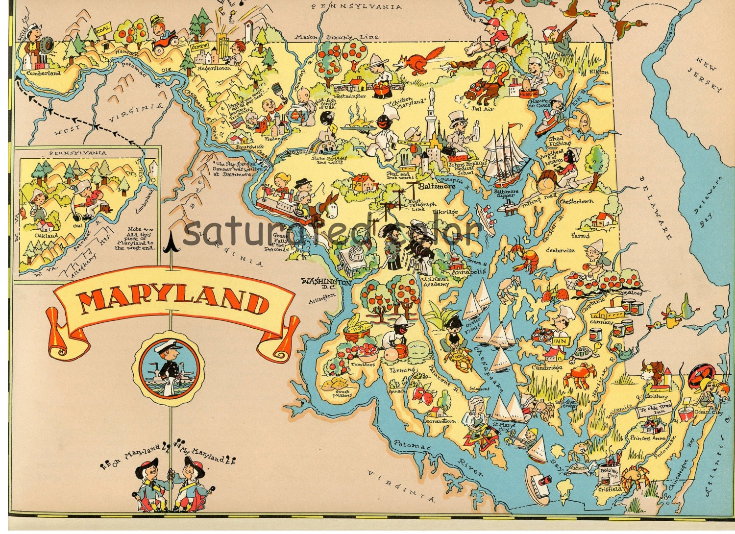 Maryland Map ORIGINAL 9 X 13 Vintage 1930s By SaturatedColor