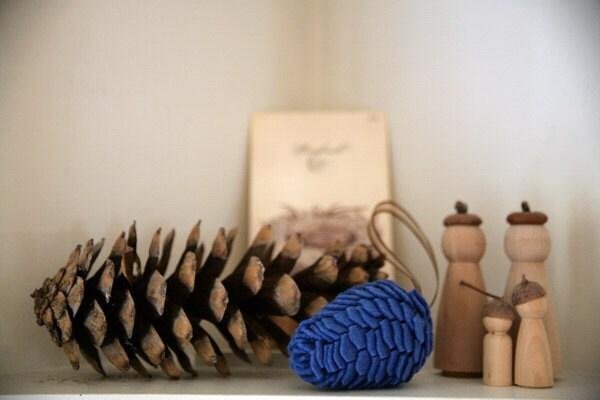 Wool Felt Pinecone Decoration - bright blue