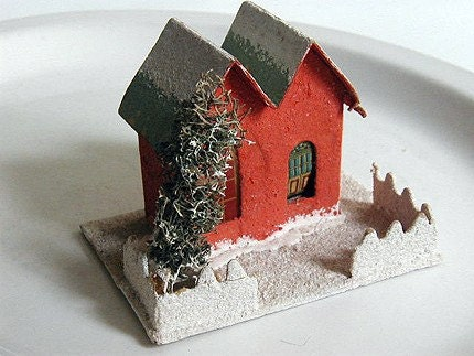 Vintage Cardboard Christmas Village Putz House By