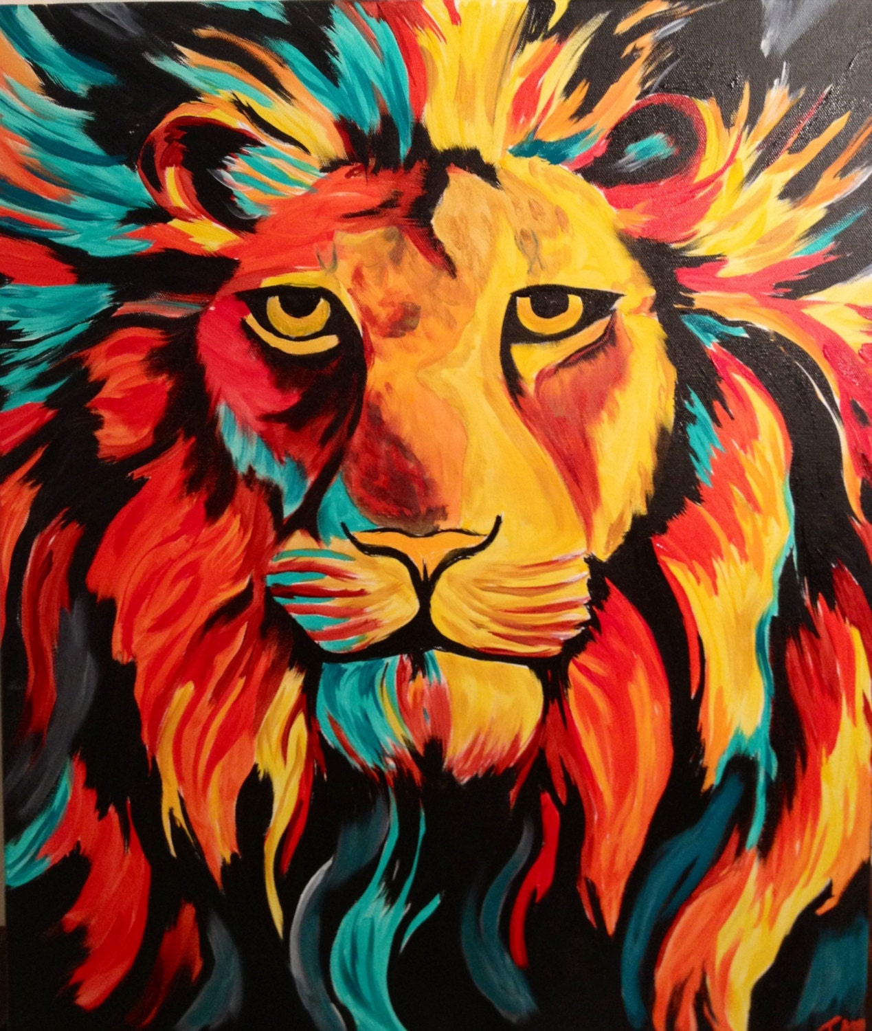Colorful lion painting - photo#5