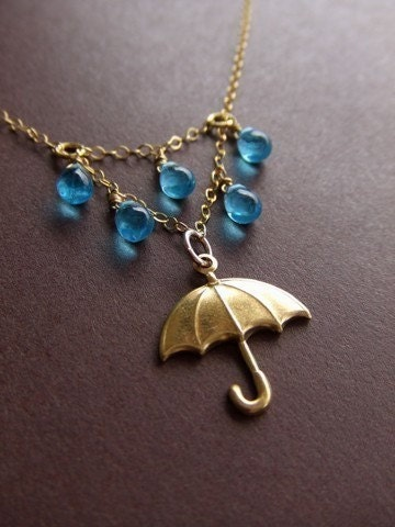 RAINY DAY WITH MY UMBRELLA gold necklace