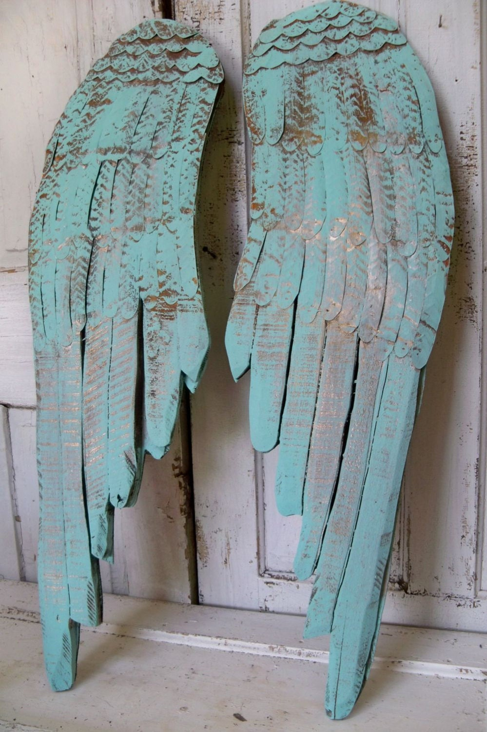 Wall Decor Angel Wings Sea Glass Wooden Carved By