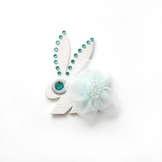 BUNNY NOEL BROOCH in white with turquoise flower - iloveyoujewels