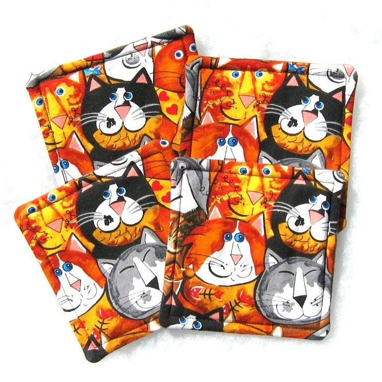 Four Reversable Cat Print Fabric Coasters