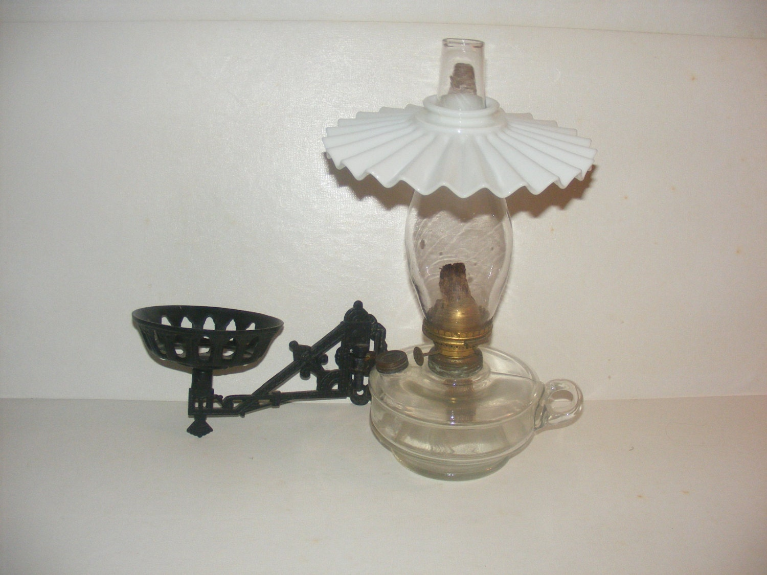 Wall Oil Lamps : Items similar to Antique Miller Finger Oil Lamp Wall Sconce & White Fan Shade Spring Chimney on Etsy