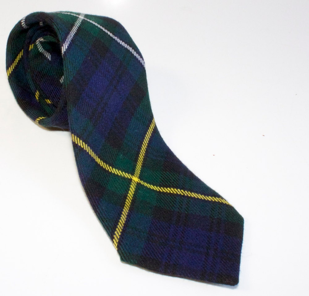 Vintage Skinny Scottish Plaid Wool Tie