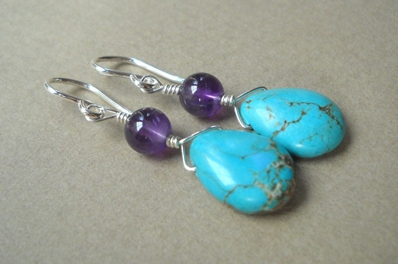 Amethyst and Turquoise Drop Earrings in Sterling Silver