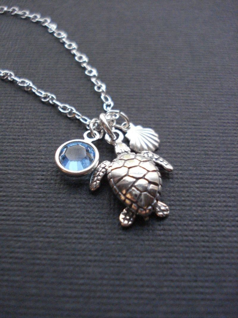 Sterling Sea Turtle Swarovski Crystal Necklace