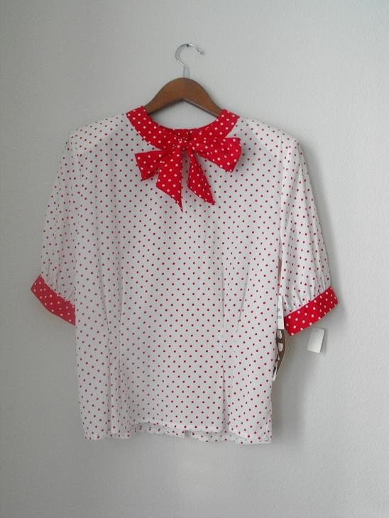 Red and White or White and Red Polka Dot Blouse