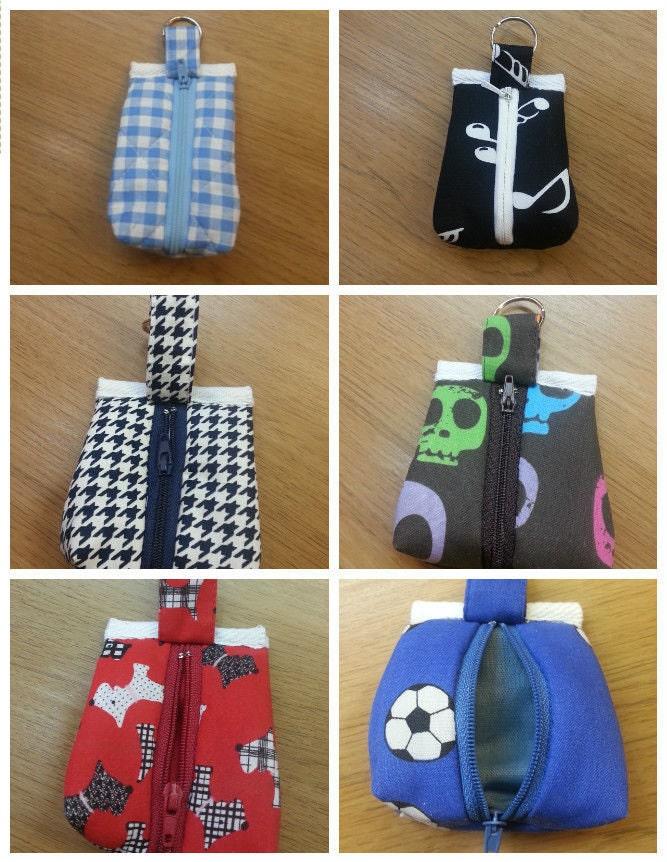 Headphonecoins fabric heart casepouch keyring handmade
