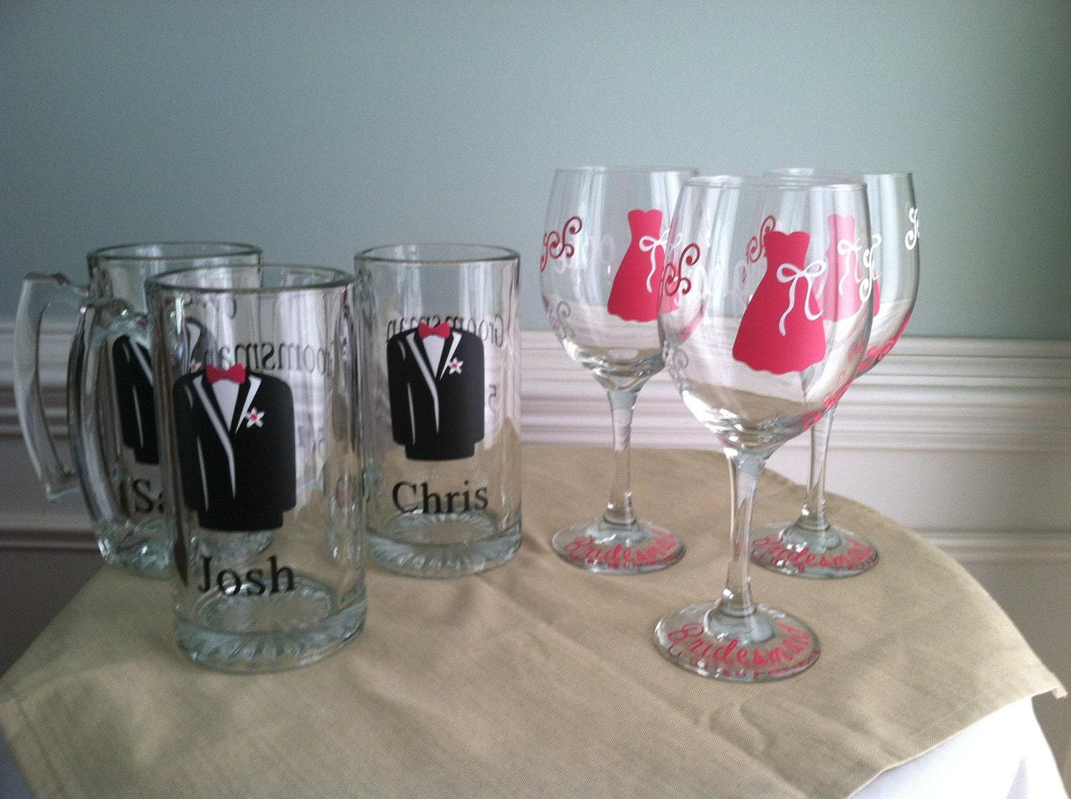 Set of 6 Personalized Groomsman Beer Mugs and 6  Bridesmaid Glasses