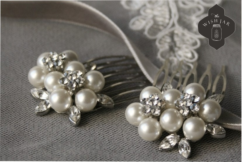 """Pearl and Crystal Hair Combs """"Hillary"""""""