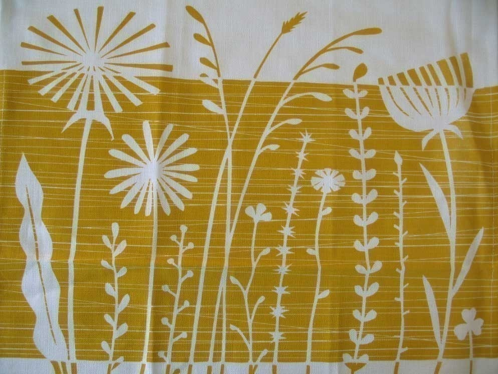 Summer Weeds in burnt butter - teatowel