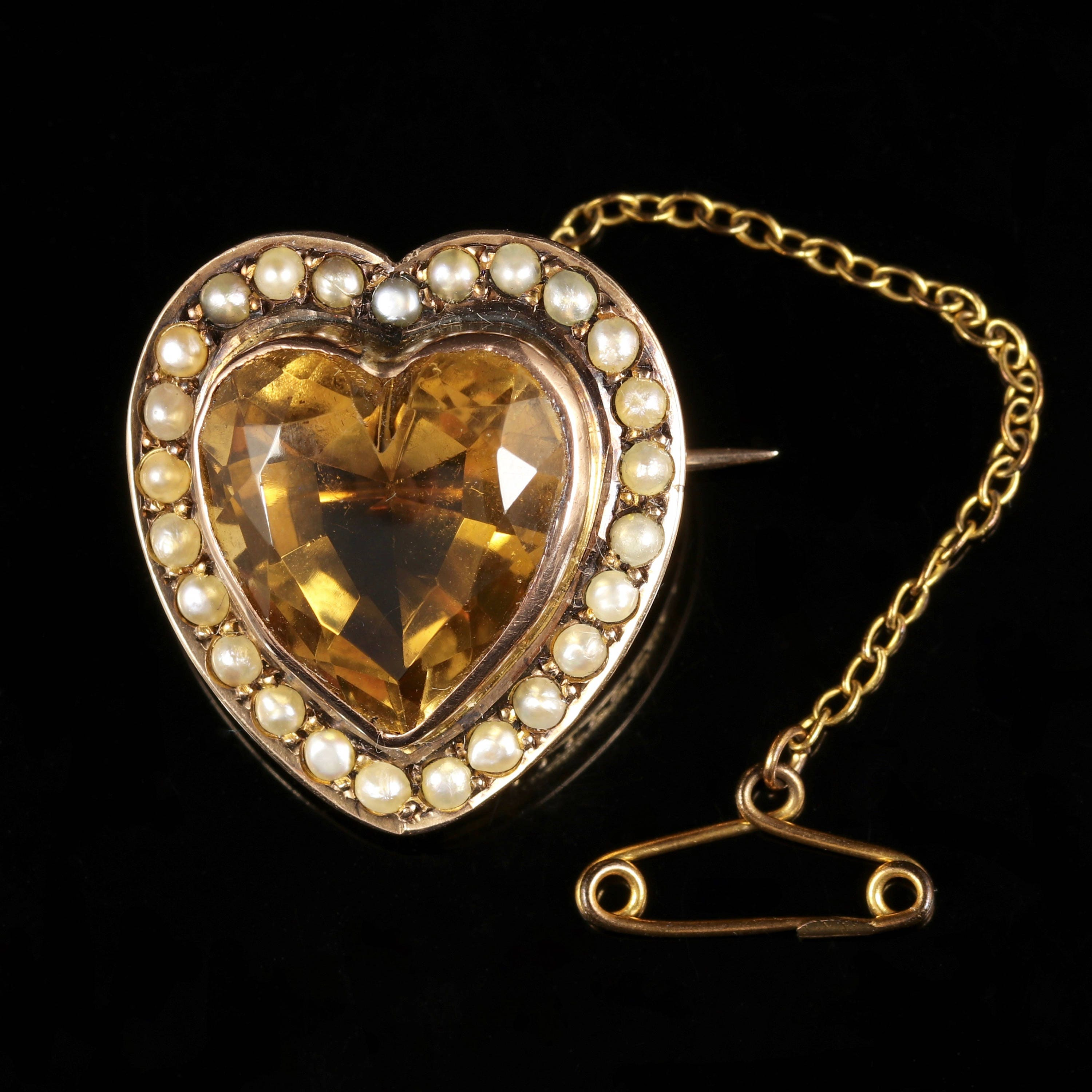 Antique Victorian Citrine Pearl Heart Brooch Gold Circa 1880