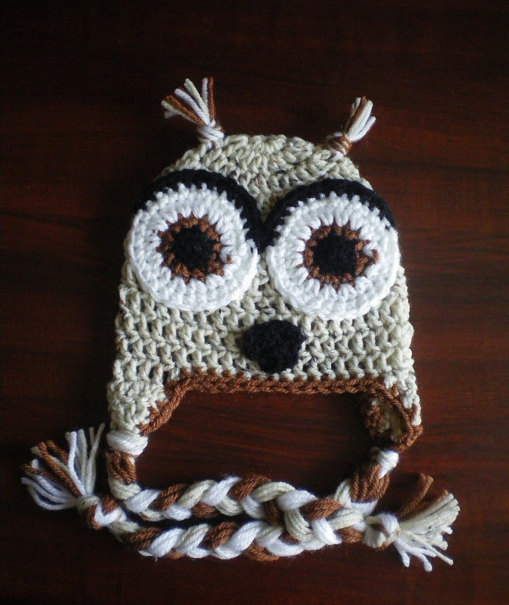 Neutral unisex owl earflap hat - Browns, beige, and black - All sizes available