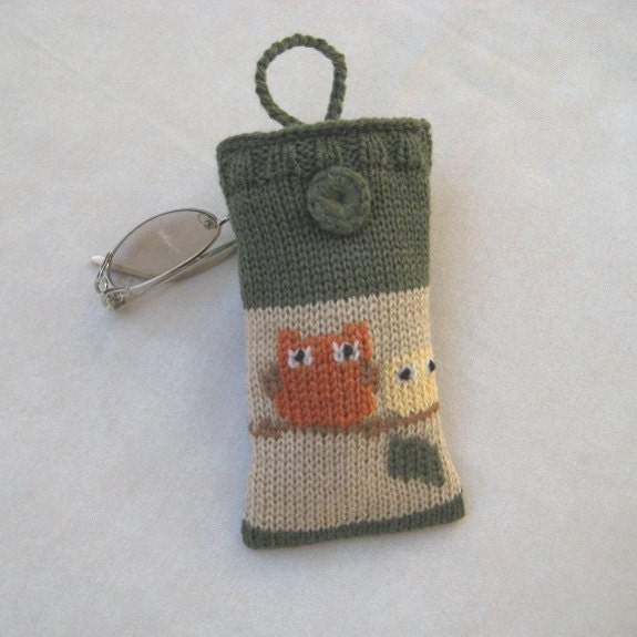 Knit Eyeglasses Case/ Pouch Woodland Owls Earth tones Army green Tan Fun Animal Decor Rustic Handmade by margity