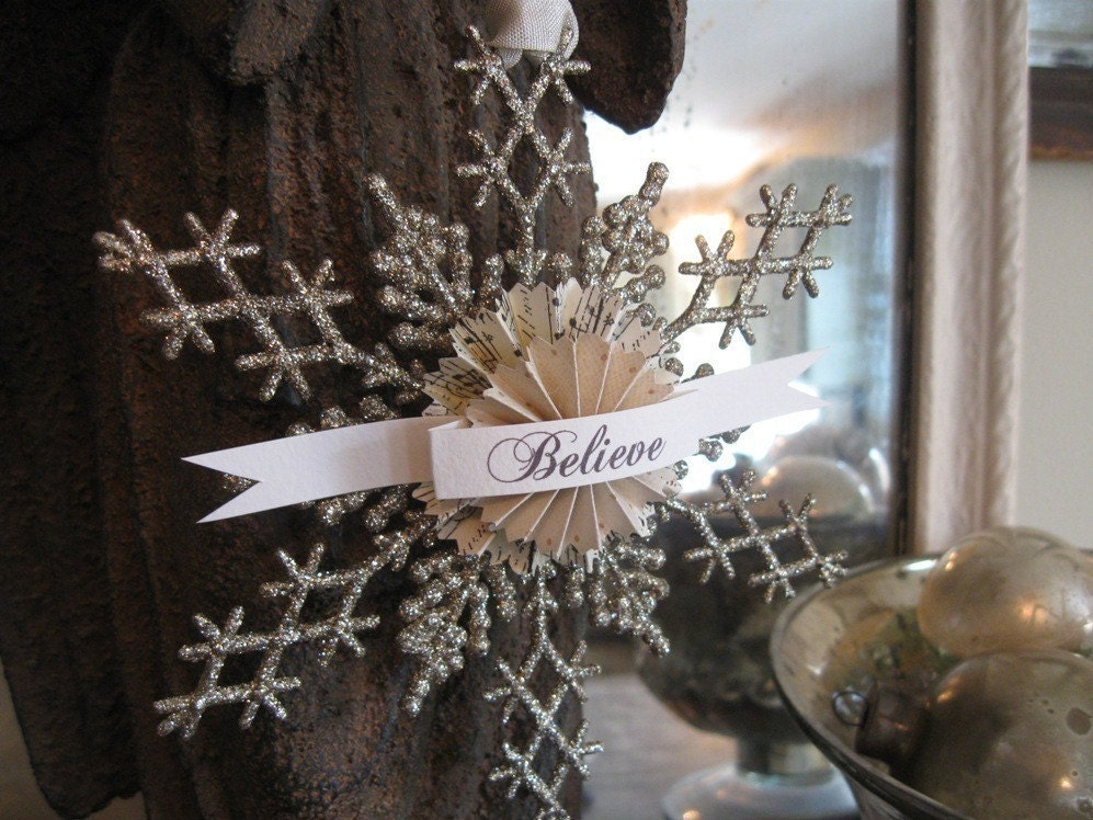 Aged Glitter SNOWFLAKE Ornament BELIEVE Adornament hang tag paper rosette Shabby Chic French CHRISTMAS decoration Holiday