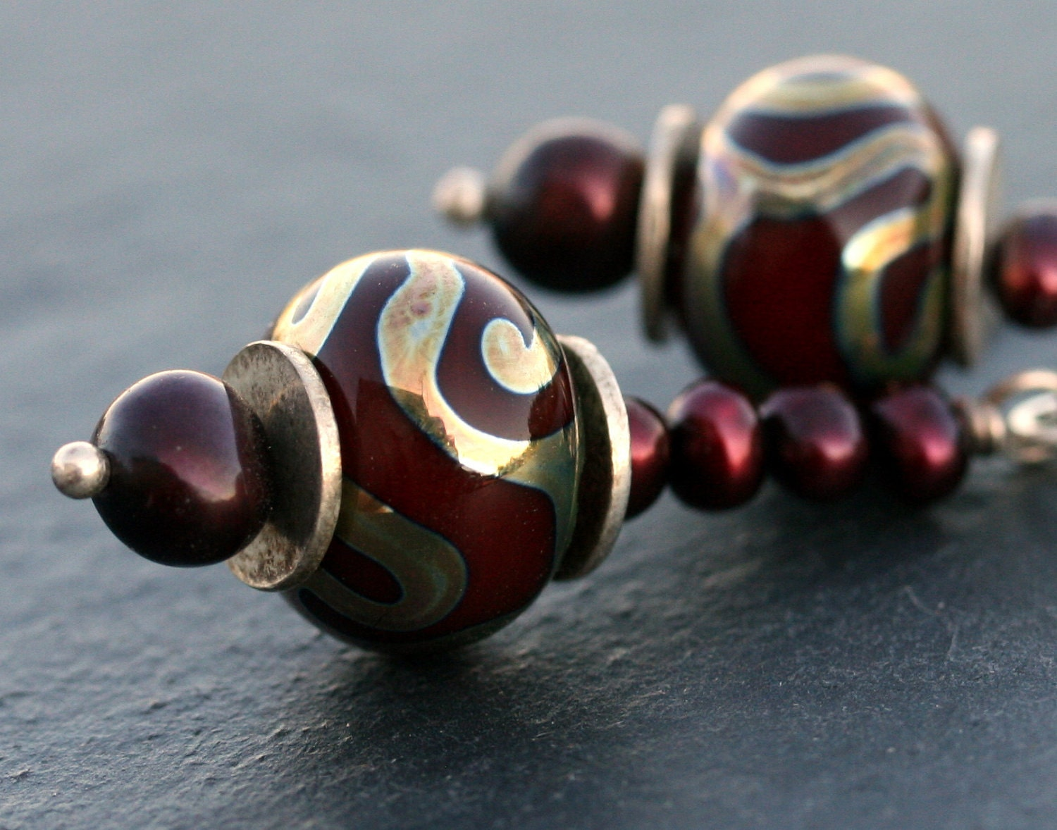 Swirls with Pearls, deep red artisan lampwork sterling earrings