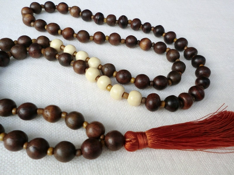 chunky wood bead tassel necklace with golden by brightnewpenny