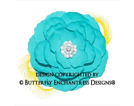 Rhinestone Tiffany Blue English Rose Flower & Yellow Feather Hair Clip