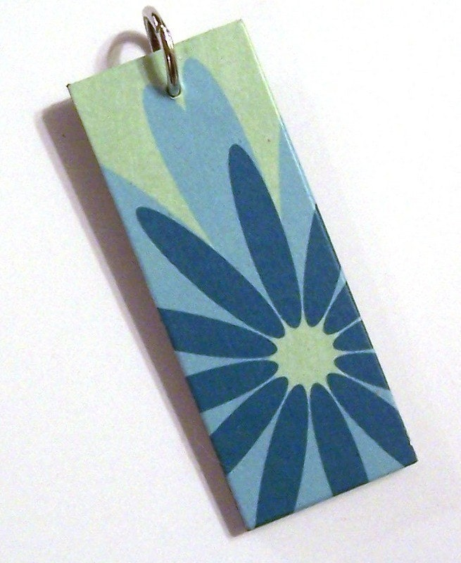 Teal Peeking Flower Pendant