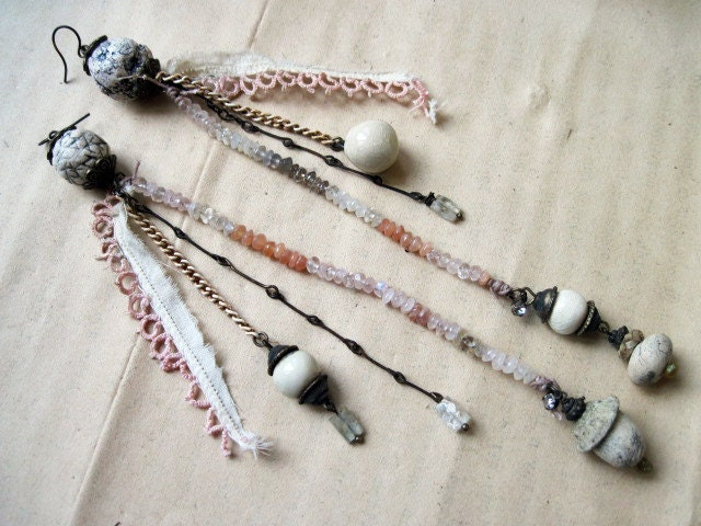 Pale Shoulder Duster Dangles with Moonstone Gems and Ceramic Art Beads.