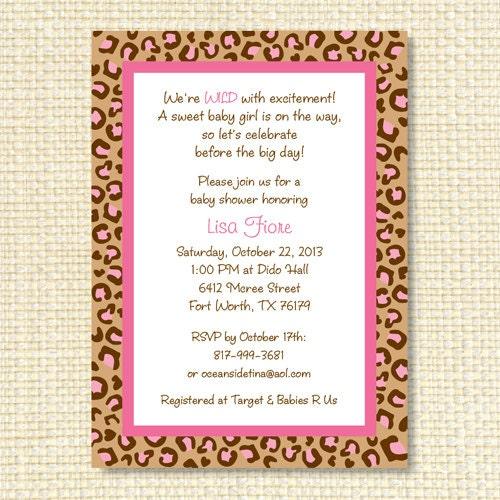 cheetah print baby shower invitation printable