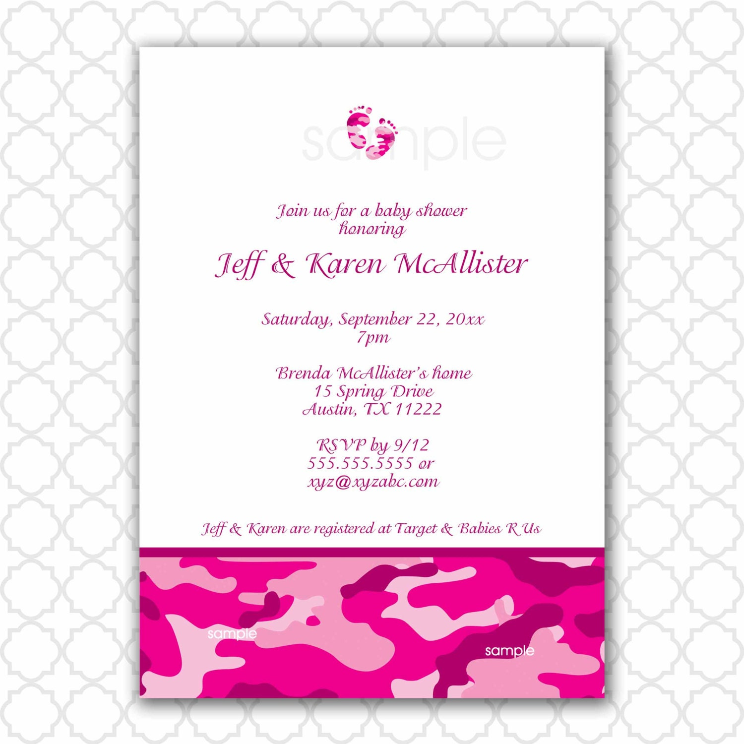 hot pink camo baby shower invitation with feet camouflage
