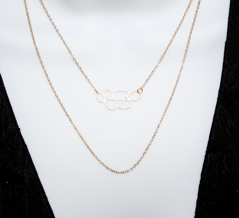 Gold Multiple Teardrop Rings Necklace with double by smilesophie