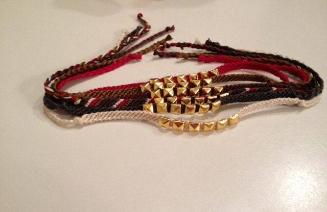 Gold Studded Friendship Bracelets-In Fall/Winter Colors