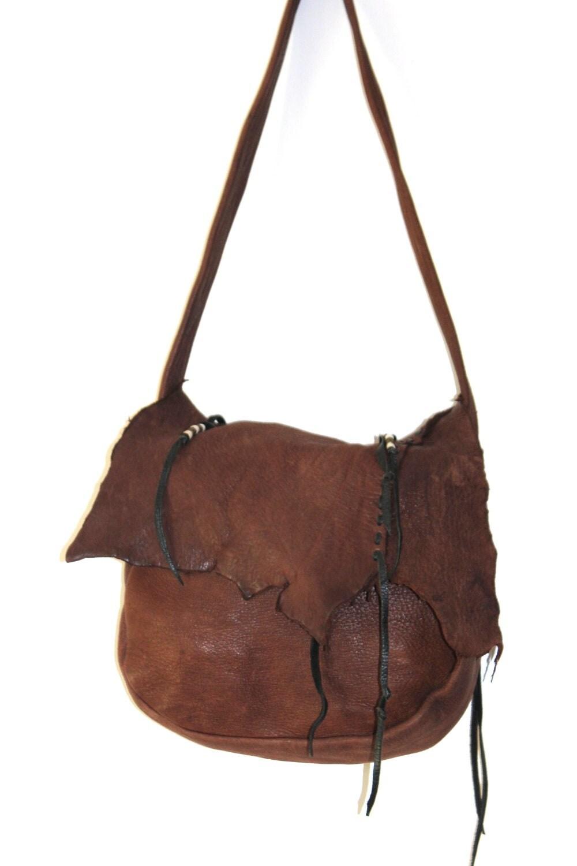 Vintage Erda Deerskin Purse Brown Leather Hobo By Subtlefunk