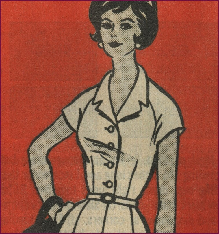 Vintage 1960 raglan sleeve shirt dress pattern 38 bust. From NewVintageLady