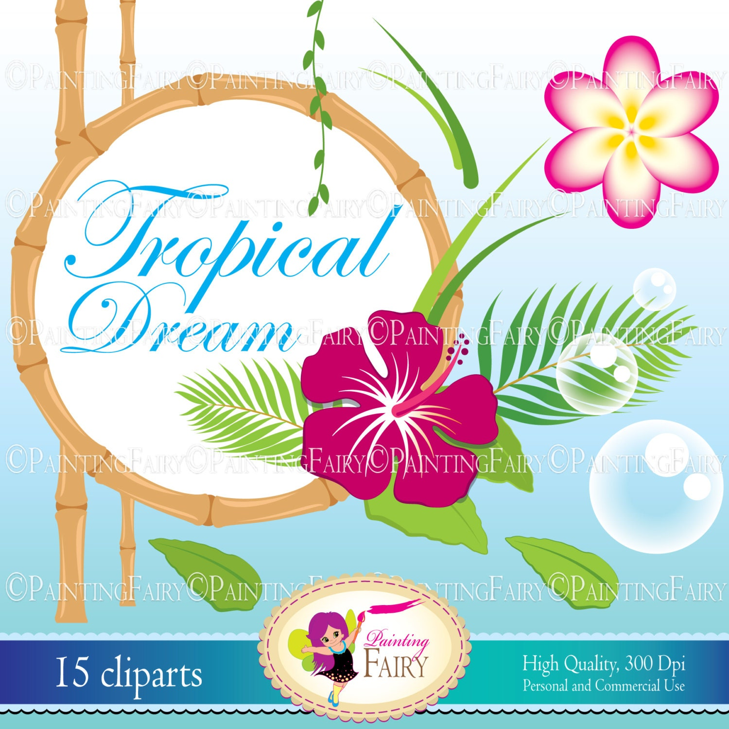 INSTANT DOWNLOAD Digital Clip Art Tropical Dream cute Hibiscus flowers ...