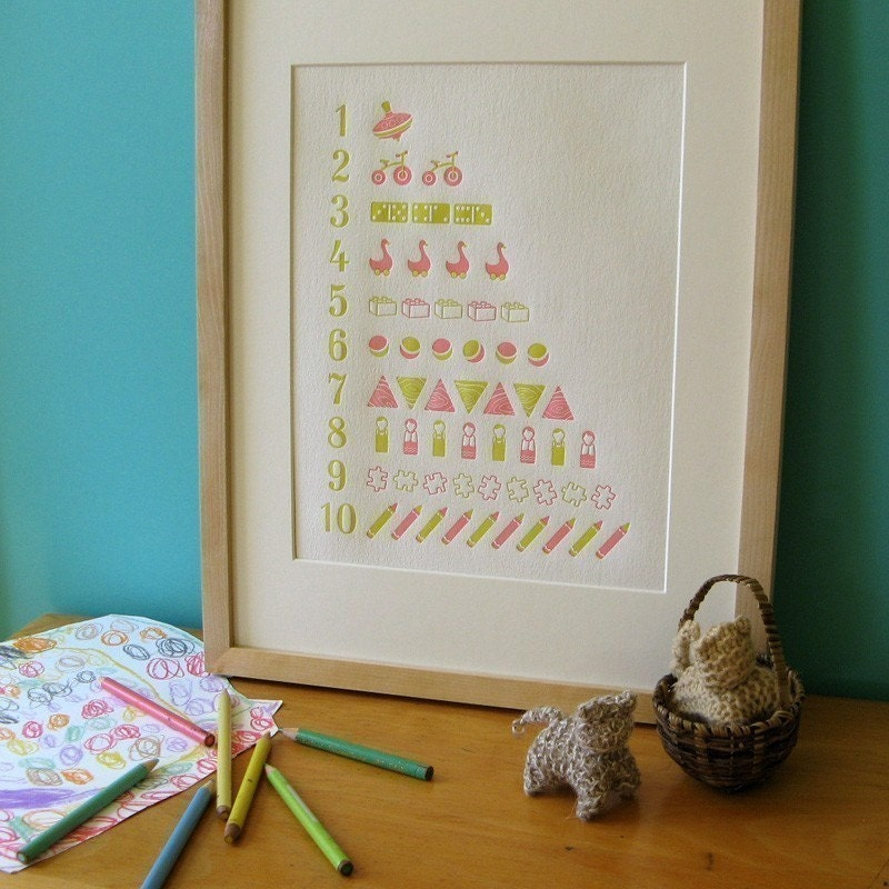 Letterpress counting poster in green and pink