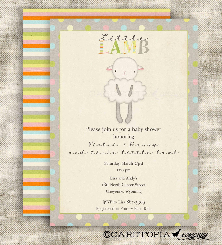 lamb girl boy baby shower invitations vintage by cardtopiacompany