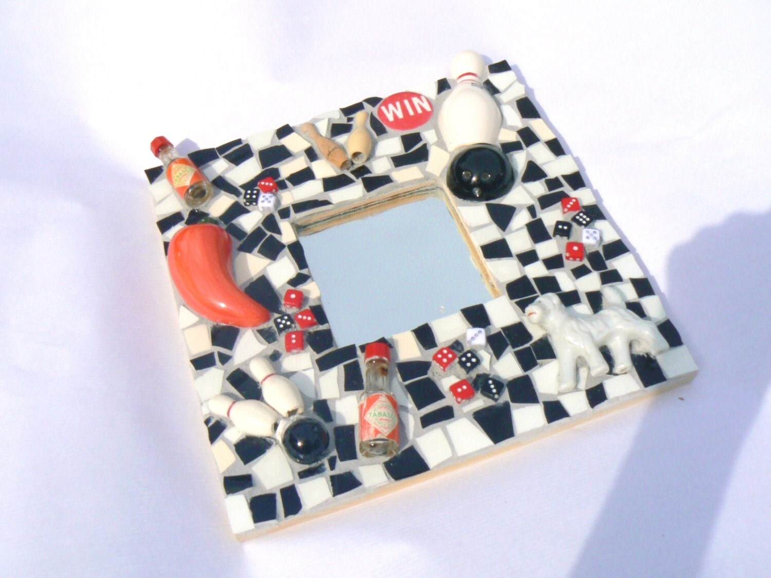 Black, White and Red  Mosaic Mirror- Pique Assiette Mosaic Mirror Father's Day - PamelasPieces