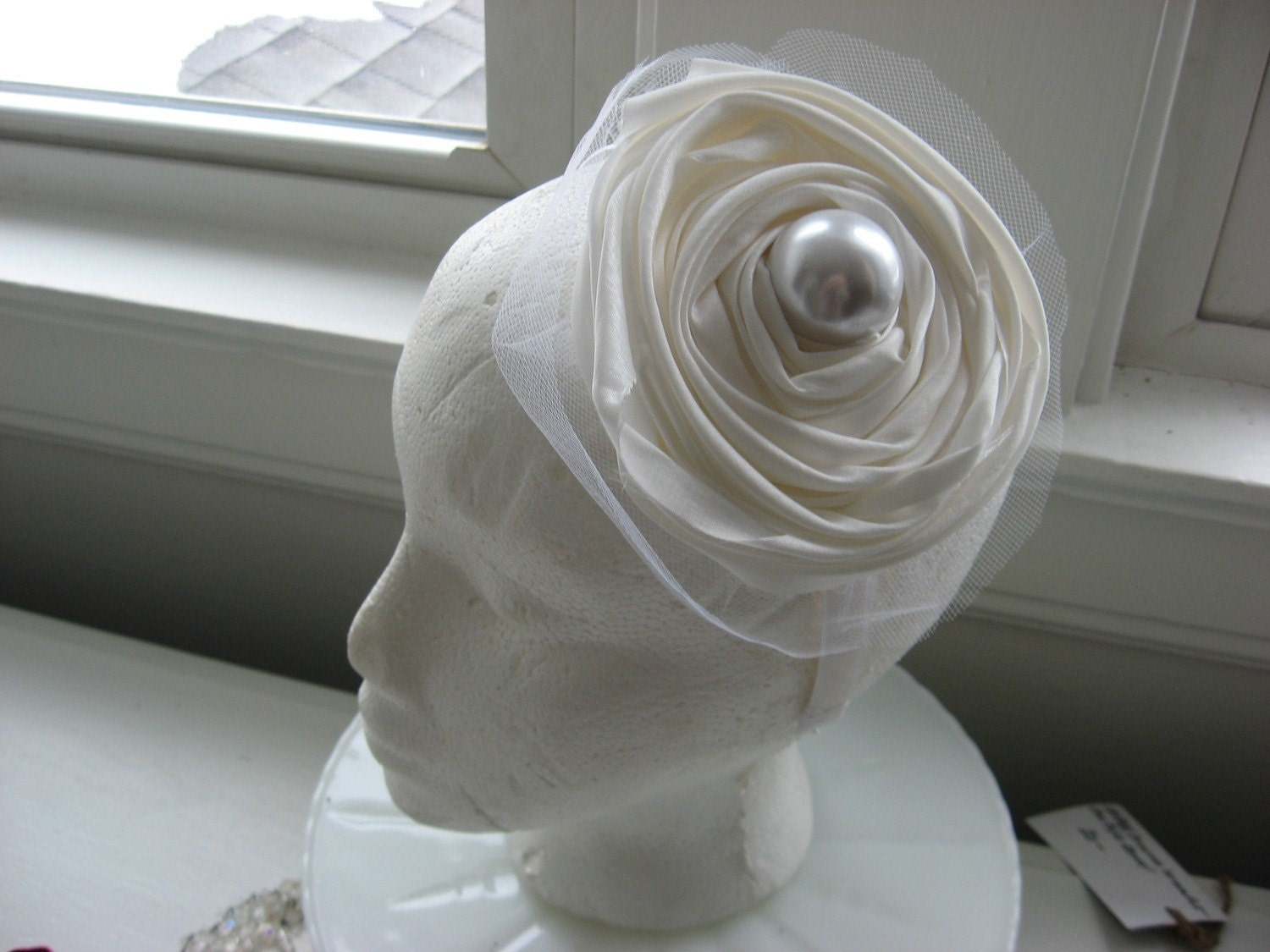 Hand wraped taffeta tulle and pearl headband, bridal white hat, flower fascinator hat