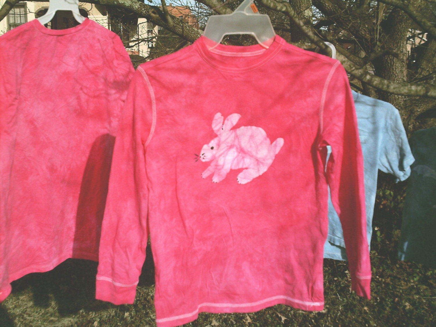 pink batik BUNNY tshirt youth med long-sleeve